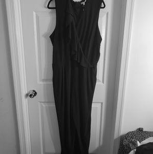 Dresses & Skirts - Black ruffled front jumsuit